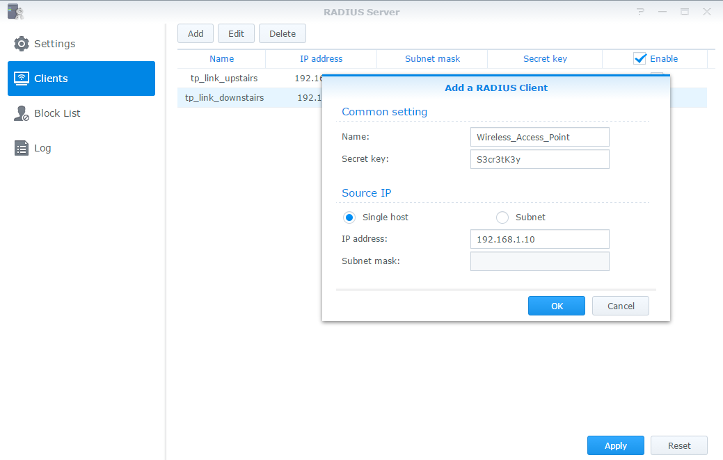 RADIUS Server on Synology